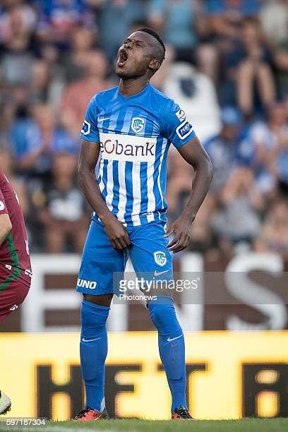 Ally Samatta forward of KRC Genk pictured during the Jupiler Pro League match between KRC Genk and Zulte Waregem on August 28, 2016 in Genk, Belgium...