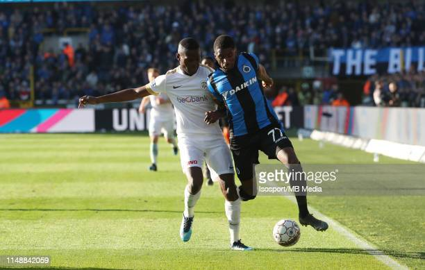 Ally Samatta of Genk and Clinton Mata of Club Brugge fight for the ball during the Jupiler Pro League play-off 1 match between Club Brugge and Krc...