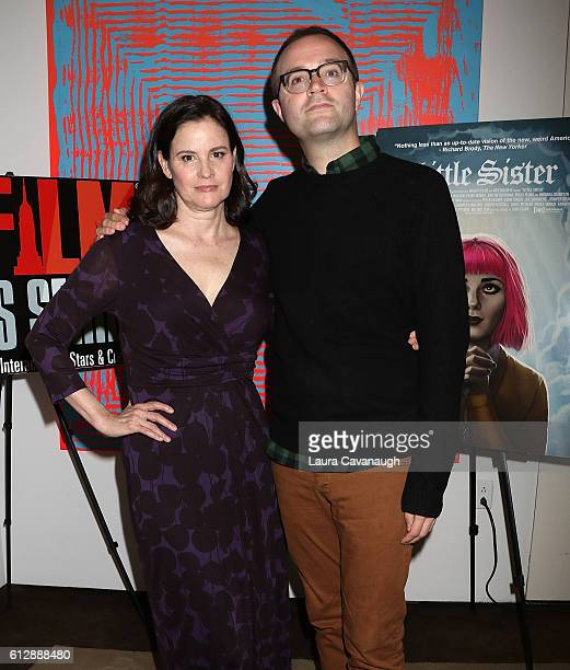 Ally Sheedy and Zach Clark attend New York Film Critics Series 'Little Sisters' QA at The Core Club on October 5 2016 in New York City