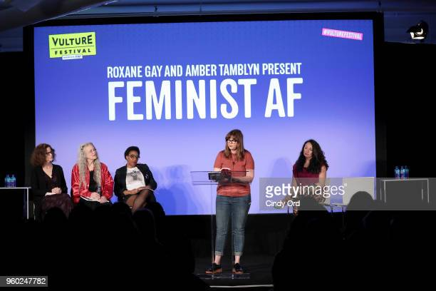 Ally Sheedy Sharon Olds Morgan Parker Amber Tamblyn and Jennine Capo Crucet attend Vulture Festival Presented By ATT ROXANE GAY AND AMBER TAMBLYN...