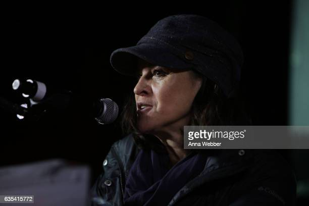 Ally Sheedy speaks during ARTISTIC UPRISING A Call For Revolutionary Love at Washington Square Park on February 14 2017 in New York City