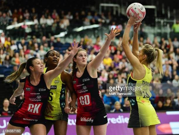 Ally Thomas of Manchester Thunder shoots on goal during the Vitality Netball Superleague match between Strathclyde Sirens and Manchester Thunder at...