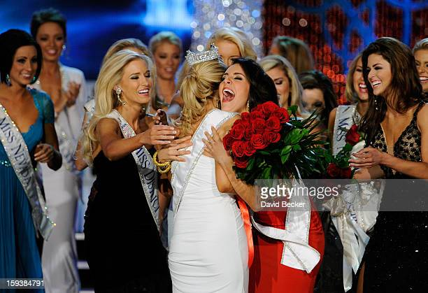 Allyn Rose Miss District of Columbia and Leighton Jordan Miss Georgia congratulate Mallory Hytes Hagan of New York after being crowned Miss America...