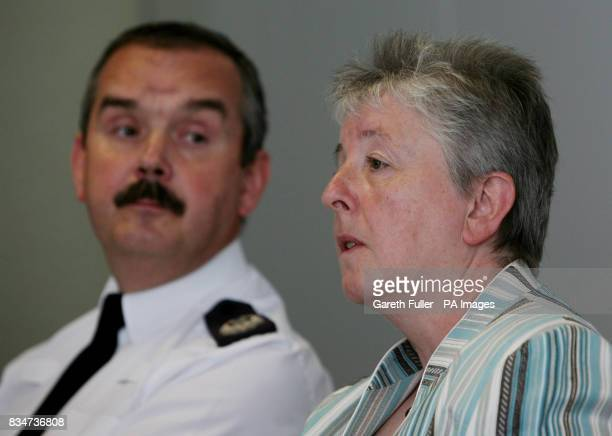 Allyn Thomas Assistant Chief Constable of Kent Police with Sandra Caldwell Deputy Chief Executive of the Health and Safety Executive speaking at a...