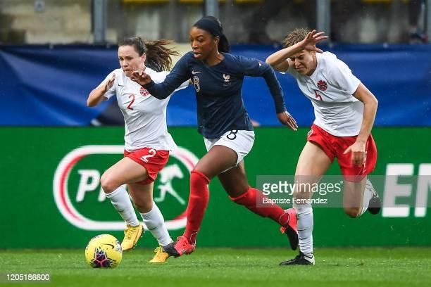 Allysha CHAPMAN of Canada Grace GEYORO of France and Kadeisha BUCHANAN of Canada during the Tournoi de France International Women's soccer match...