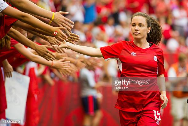Allysha Chapman of Canada is greeted by fans after the team warmup prior to the start of the FIFA Women's World Cup Canada 2015 Quarter Final match...