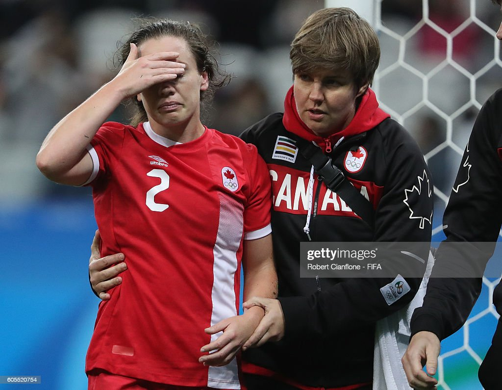 Allysha Chapman of Canada leaves the ground with an injury during the Women's Football Quarter Final match between Canada and France on Day 7 of the Rio 2016 Olympic Games at Arena Corinthians on August 12, 2016 in Sao Paulo, Brazil.