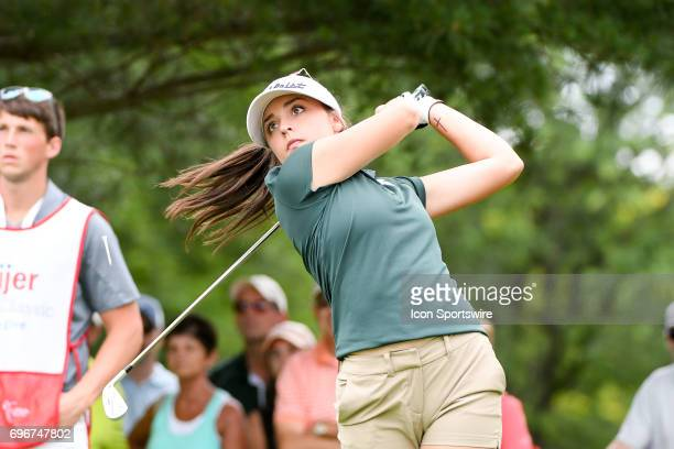 Allyson Beer a freshman from Michigan State University hits her tee shot on the 2nd hole during the second round of the Meijer LPGA Classic on June...