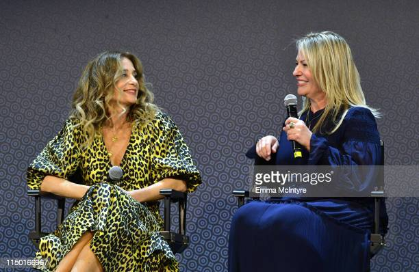 Allyson Fanger and Tricia Sawyer speak onstage at the Netflix FYSEE Craft Day at Raleigh Studios on May 18 2019 in Los Angeles California