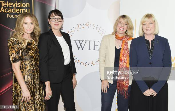 Allyson Fanger Hala Bahmet Mary Melton and Catherine Adair pose for portriat at the Women in Entertainment and The Television Academy Foundation's...