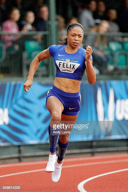 Allyson Felix competes in the first round of the Women's 200 Meter during the 2016 US Olympic Track Field Team Trials at Hayward Field on July 8 2016...