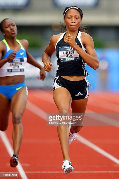 Allyson Felix competes in the women's 200 meter semifinals during day seven of the US Track and Field Olympic Trials at Hayward Field on July 5 2008...