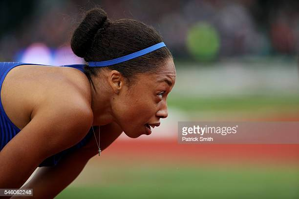 Allyson Felix fourth place reacts after the Women's 200 Meter Final during the 2016 US Olympic Track Field Team Trials at Hayward Field on July 10...