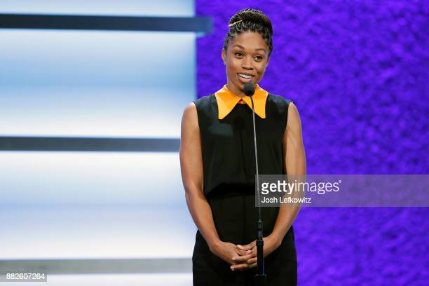 Allyson Felix is seen on stage during the 2017 Team USA Awards on November 29 2017 in Westwood California
