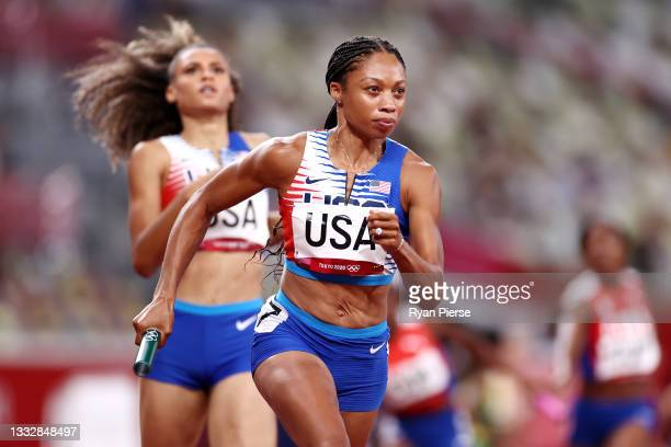 Allyson Felix of Team United States competes in the Women' s 4 x 400m Relay Final on day fifteen of the Tokyo 2020 Olympic Games at Olympic Stadium...
