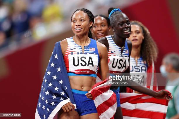 Allyson Felix of Team United States reacts after winning the gold medal in the Women' s 4 x 400m Relay Final on day fifteen of the Tokyo 2020 Olympic...