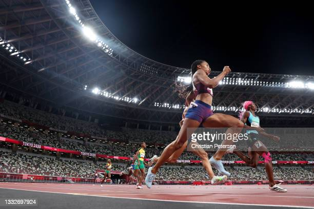 Allyson Felix of Team USA and Shaunae Miller-Uibo of Team Bahamas compete in the Women's 400 metres final on day fourteen of the Tokyo 2020 Olympic...