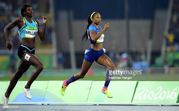 Allyson Felix of the United States and Shaunae Miller of the Bahamas compete in the Women's 400 meter semifinal on Day 9 of the Rio 2016 Olympic...