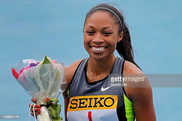 Allyson Felix of the United States celebrates after winning the Women's 100m during the Seiko Golden Grand Prix Kawasaki at Todoroki Stadium on May 6...