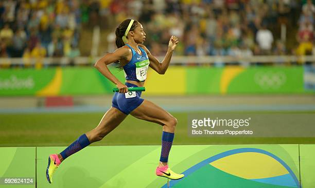 Allyson Felix of the United States competes during the Women's 4 x 400 meter Relay on Day 15 of the Rio 2016 Olympic Games at the Olympic Stadium on...