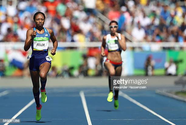 Allyson Felix of the United States competes in round one of the Women's 400m on Day 8 of the Rio 2016 Olympic Games at the Olympic Stadium on August...