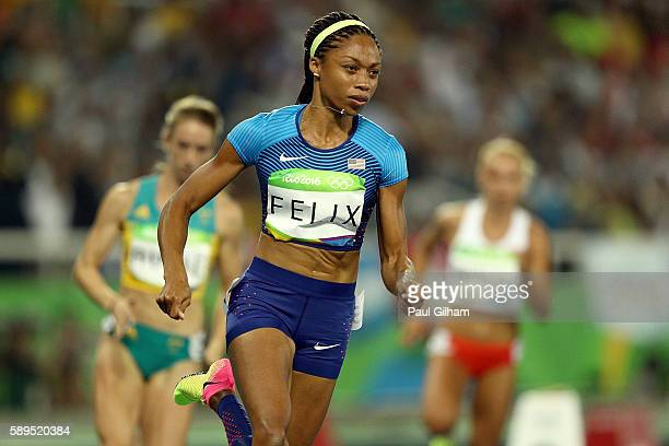 Allyson Felix of the United States competes in the Women's 400 meter semifinal on Day 9 of the Rio 2016 Olympic Games at the Olympic Stadium on...
