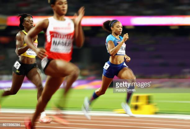Allyson Felix of the United States competes in the Women's 400 metres semi finals during day four of the 16th IAAF World Athletics Championships...