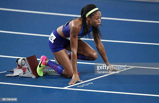 Allyson Felix of the United States competes in the Women's 400m final on Day 10 of the Rio 2016 Olympic Games at the Olympic Stadium on August 15...