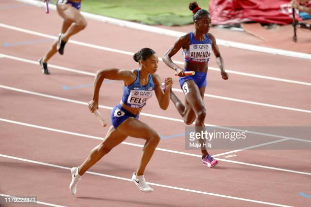 Allyson Felix of the United States competes in the Women's 4x400 metres relay heats during day nine of 17th IAAF World Athletics Championships Doha...