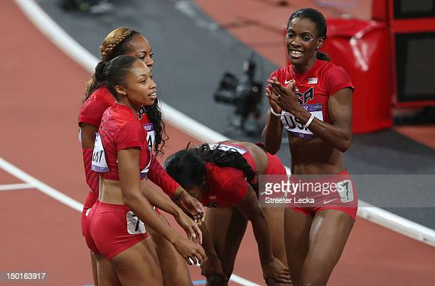 Allyson Felix of the United States DeeDee Trotter of the United States Francena McCorory of the United States and Sanya RichardsRoss of the United...