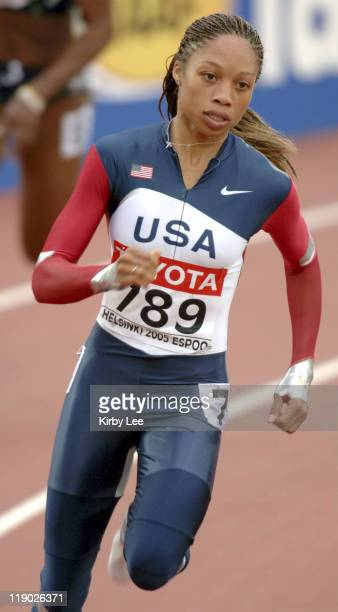 Allyson Felix of the United States placed second in 2268 in women's 200meter firstround heat in the IAAF World Championships in Athletics at Olympic...