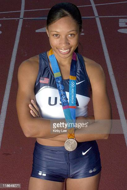 Allyson Felix of the United States poses with 2004 Athens Olympic Track & Field silver medal in the 200 meters.