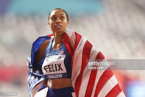 Allyson Felix of the United States reacts after setting a new world record in the 4x400 Metres Mixed Relay during day three of 17th IAAF World...