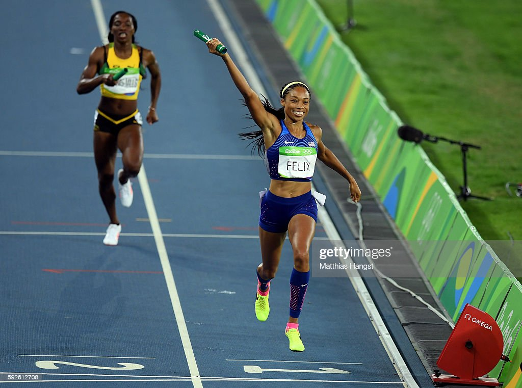 Allyson Felix of the United States reacts after winning gold during the Women's 4 x 400 meter Relay on Day 15 of the Rio 2016 Olympic Games at the Olympic Stadium on August 20, 2016 in Rio de Janeiro, Brazil.