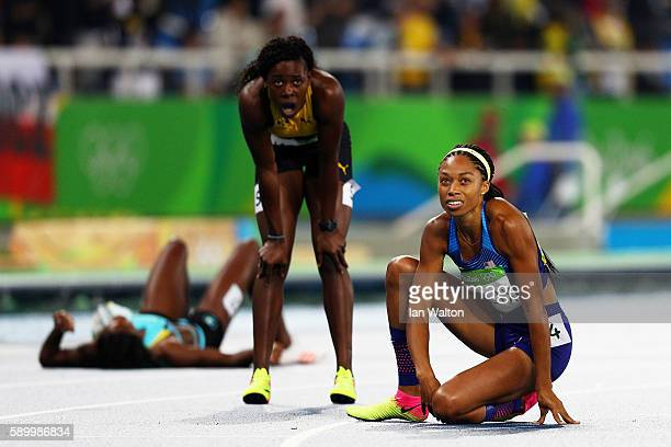 Allyson Felix of the United States reacts after winning the silver medal in the Women's 400m Final on Day 10 of the Rio 2016 Olympic Games at the...