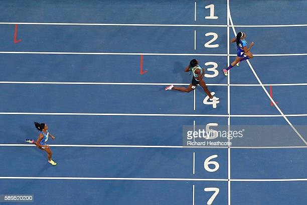 Allyson Felix of the United States Shaunae Miller of the Bahamas and Libania Grenot of Italy compete in the Women's 400m Semi final on Day 9 of the...
