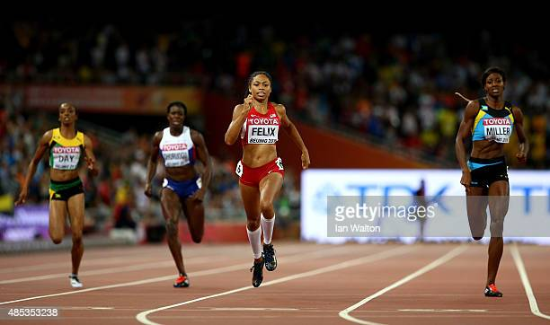 Allyson Felix of the United States sprints to the finish line to win gold ahead of Shaunae Miller of the Bahamas in the Women's 400 metres Final...