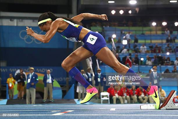 Allyson Felix of the United States starts at the Women's 400m Final on Day 10 of the Rio 2016 Olympic Games at the Olympic Stadium on August 15 2016...