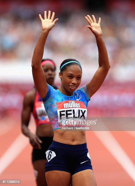 Allyson Felix of The United States wins the womens 400m final during the Muller Anniversary Games at London Stadium on July 9 2017 in London England
