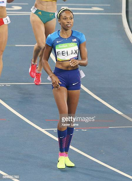 Allyson Felix of United States celebrates his victory after the semifinal Athletics Women's 400m at Olympic Stadium on August 14 2016 in Rio de...
