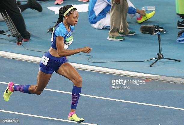 Allyson Felix of United States in action during the semifinal Athletics Women's 400m at Olympic Stadium on August 14 2016 in Rio de Janeiro Brazil