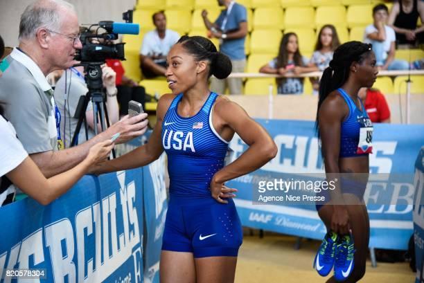 Allyson Felix of USA 4x100m relay women during the IAAF Diamond League Meeting Herculis on July 21 2017 in Monaco Monaco