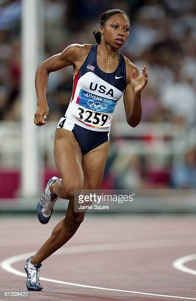 Allyson Felix of USA competes in the women's 200 metre on August 23, 2004 during the Athens 2004 Summer Olympic Games at the Olympic Stadium in the...