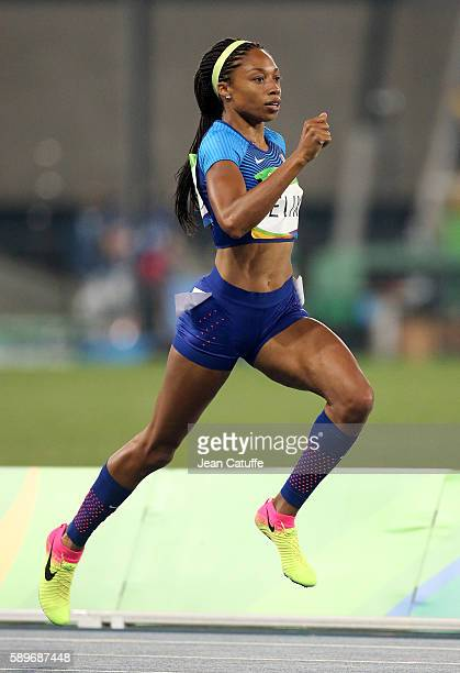 Allyson Felix of USA in action during the women's 400m on day 8 of the Rio 2016 Olympic Games at Olympic Stadium on August 14 2016 in Rio de Janeiro...