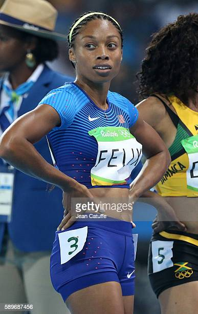 Allyson Felix of USA looks on following the women's 400m on day 8 of the Rio 2016 Olympic Games at Olympic Stadium on August 14 2016 in Rio de...
