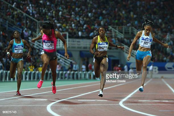 Allyson Felix of USA wins the women's 200m from Sanya Richards of USA and Debbie FergusonMcKenzie of Bahamas during day one of the IAAF World...
