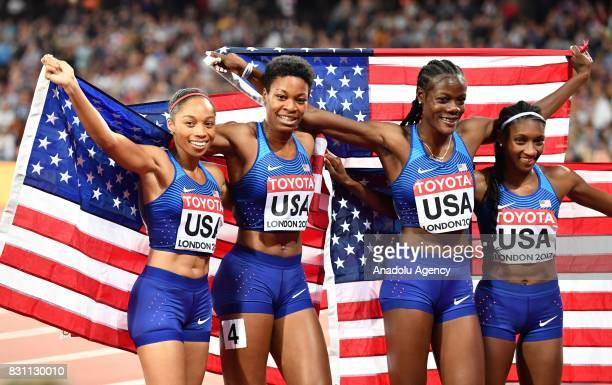 Allyson Felix Phyllis Francis Shakima Wimbley and Quanera Hayes of the USA celebrate winning gold medal in the Women's 4x400 Metres Relay final...