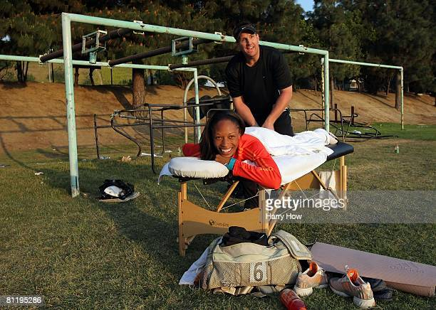 Allyson Felix relaxes after her race at the Mt. Sac Relays on April 20, 2008 in Walnut, California.