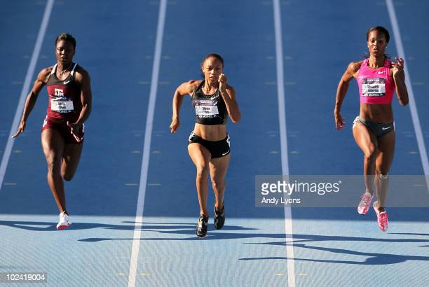 Allyson Felix runs in the womens 100 meter semi-final during the 2010 USA Outdoor Track & Field Championships at Drake Stadium on June 25, 2010 in...