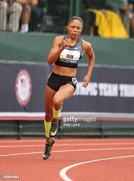 Allyson Felix runs to victory in the Women's 200 Meter on Day 9 of the 2012 US Olympic Track Field Team Trials at Hayward Field on June 30 2012 in...